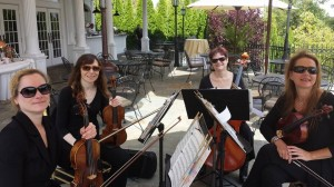 Quartet of wedding musicians - violins, viola and cello